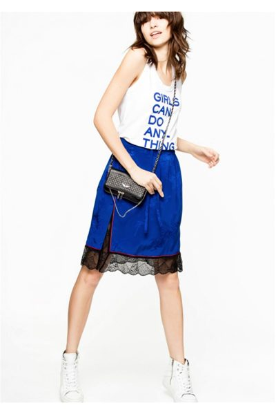 ZADIG & VOLTAIRE JILLIAN JAC SKIRT BLUE Was: £268.00 Now: £134.00