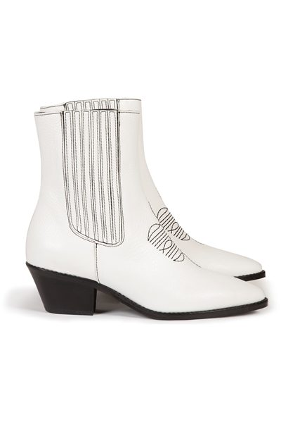 ZADIG & VOLTAIRE TYLOR GRAINED ANKLE BOOTS WHITE Was: £330.00 Now: £165.00